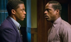 Chadwick Boseman as Thurgood Marshall and Sterling K. Brown as Joseph Spell in Marshall, 2017