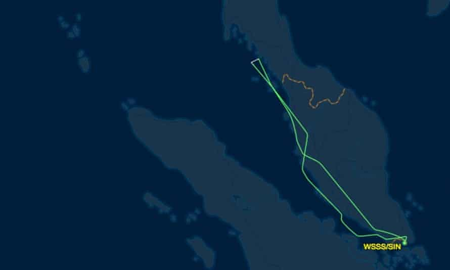 Map showing flight path of Singapore Airlines flight SQ368 following its departure from Changi airport in Singapore on Monday 27 June, 2016.