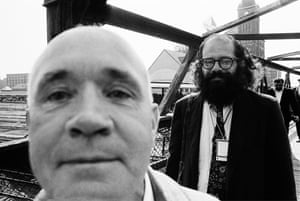 'The Democratic convention is being held right next to the stockyards, and I keep asking myself whether the air is being befouled by the decomposition of Eisenhower or by the decomposition of all America,' Jean Genet, pictured left, with Allen Ginsberg