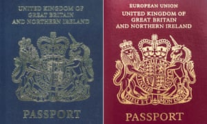 The old blue British passport and the burgundy European Union design introduced in 1988.