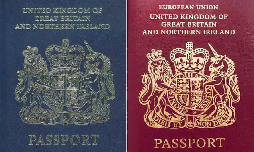 Blue and red UK passports