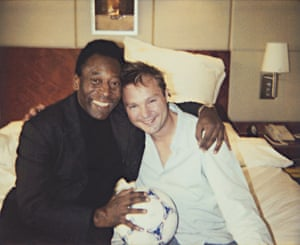 'We weren't naked or anything' … Teller in bed with the Brazilian legend Pele in London in 2003.