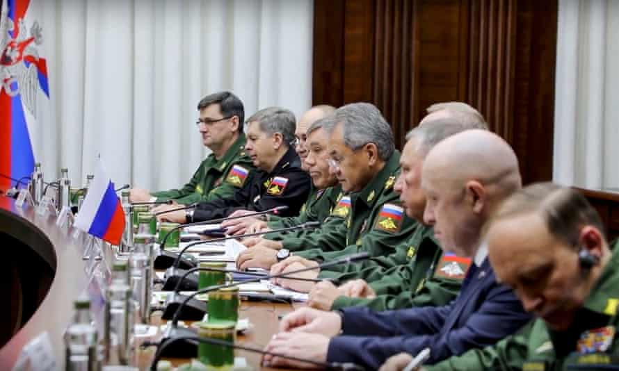 Yevgeny Prigozhin, second right, attending a meeting with Russian defence officials and Khalifa Haftar in Moscow in November.
