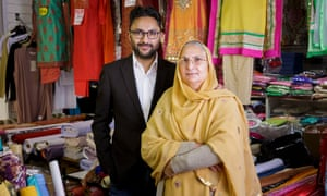 Writer Sathnam Sanghera with his mother Surjit in a fabric and fashion shop on Dudley Road in Wolverhampton.