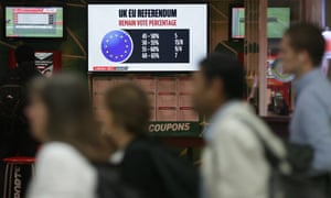 Betting odds for the the EU referendum result are displayed in a betting shop in London, Thursday on 23 June.
