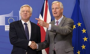 David Davis (left) and Michel Barnier.