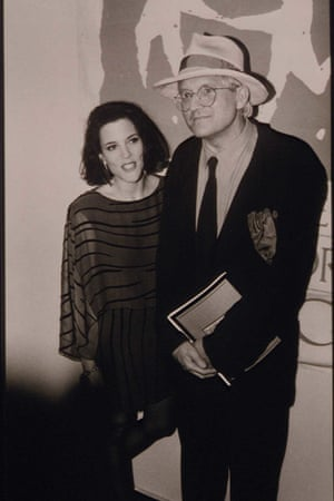Good causes: Williamson with David Hockney at an Aids charity party.