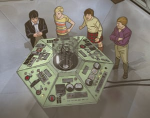 The TARDIS crew in the console room in the animation of The Macra Terror.