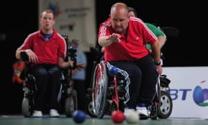 Nigel Murray of Great Britain throws a Boccia ball during a match against Ireland.