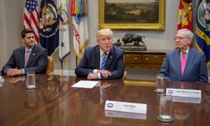 Trump with Ryan and McConnell at the White House. 'Politics is about alliances and trust. If Wednesday was not a divorce, it was a trial separation.'