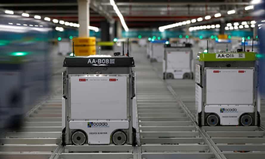 Robots at Ocado's 'customer fulfilment centre' in Andover.