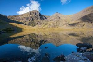 Carrauntoohil mountain reflected in Lough Callee.
