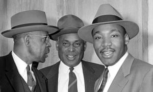 Martin Luther King Jr, right, on the first day of trials in the Montgomery bus boycott, 19 March 1956.