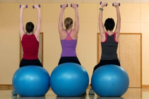 Three women sitting on exercise balls and holding small weights above their heads