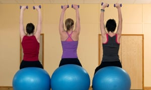 women exercising with weights at gym