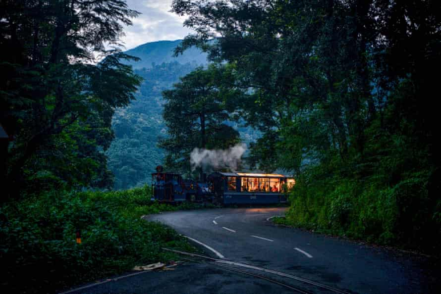 The train reaches Rongtong station near Darjeeling as services resume in August 2021 after a shutdown caused by the Covid pandemic.