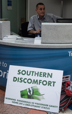 A sign left in front of an information point by commuters protesting against Southern rail's service at Victoria station in London.