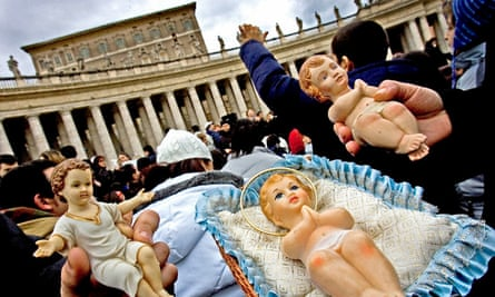 Statues of Jesus in St Peter's Square in Rome.