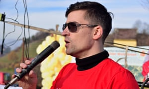 Martin Sellner, head of the Austrian Identitarian Movement, speaking at a rally