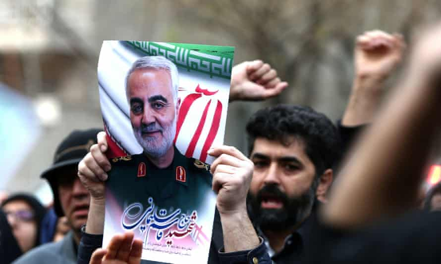 Demonstrators protest against the killing of the Iranian general Qassem Suleimani, in front of the United Nations office in Tehran, Iran, 3 January 2020.