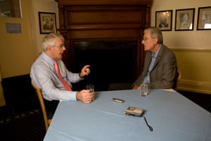 Bob Willis interviewing former prime minister John Major at The Oval in May 2007 for Observer Sport Monthly
