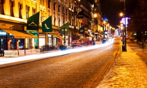 Karl Johans Gate on a winter's night.