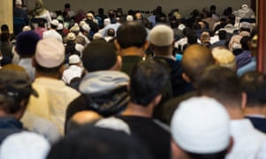 Worshippers at a British mosque – Ricu has been attempting to battle the extremist ideology of Isis.