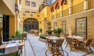 Courtyard at H10 Corregidor Boutique Hotel, Seville, Spain.