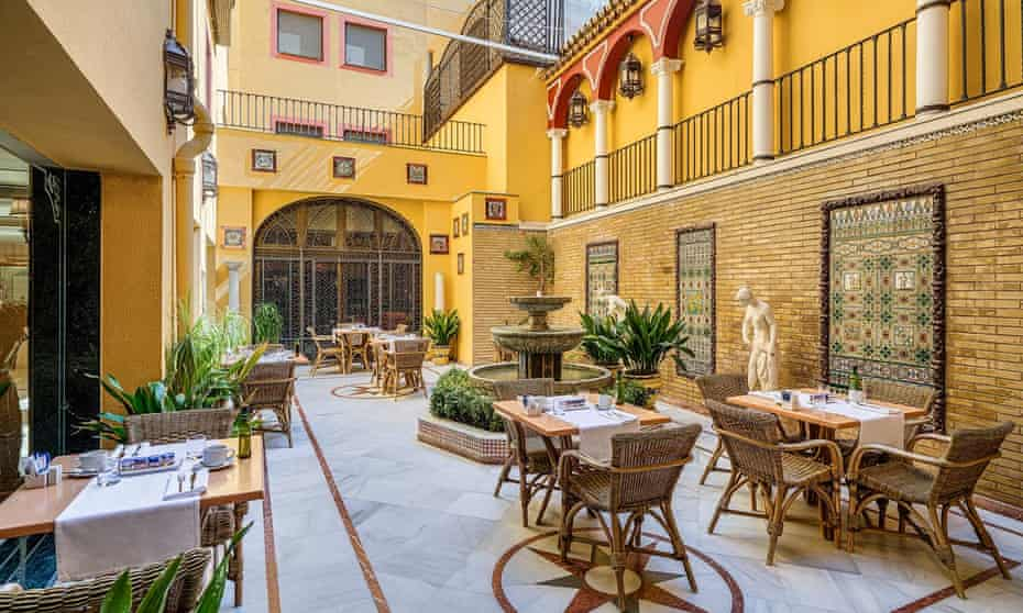 Courtyard at H10 Corregidor Boutique Hotel, Seville, Spain.