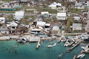An aerial view of damage caused by Hurricane Dorian is seen on Great Abaco Island on Wednesday.