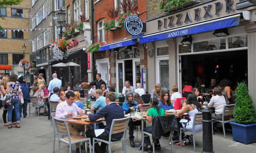 Outdoor dining in St Christopher's Place, just off Oxford Street in central London.