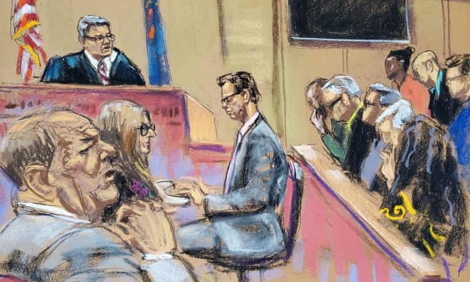 Court artist's impression of Harvey Weinstein sits with his attorney as Judge James Burke instructs the jury at the New York criminal court this month.