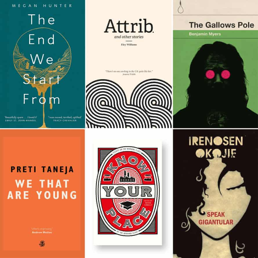 Book covers composite: The End We Start From, Attrib, The Gallows Pole, We That are Young, Know Your Place, Speak Gigantular