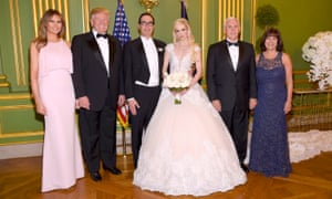Donald and Melania Trump, along with Mike and Karen Pence, attended the wedding of Louise Linton and Steven Mnuchin in June 2017.