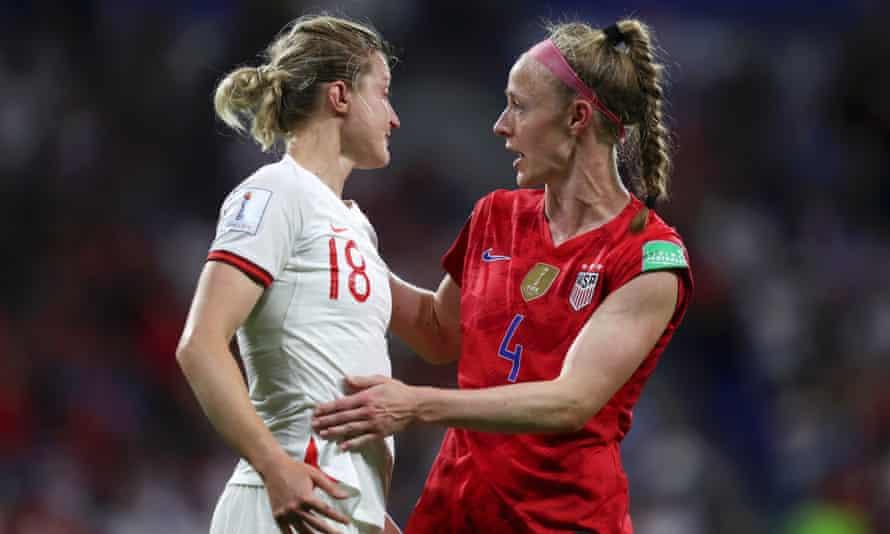 Becky Sauerbrunn consoles Ellen White following England's defeat