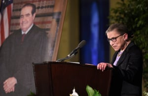 Ginsburg speaks at the memorial service for supreme court justice Antonin Scalia on 1 March 2016 at the Mayflower Hotel in Washington.