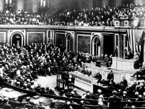 President Wilson delivers a speech to Congress on 2 April 1917, days before it passed a resolution declaring war on Germany. His assertion that 'the world must be made safe for democracy' has since provided the philosophical underpinning for interventionism.
