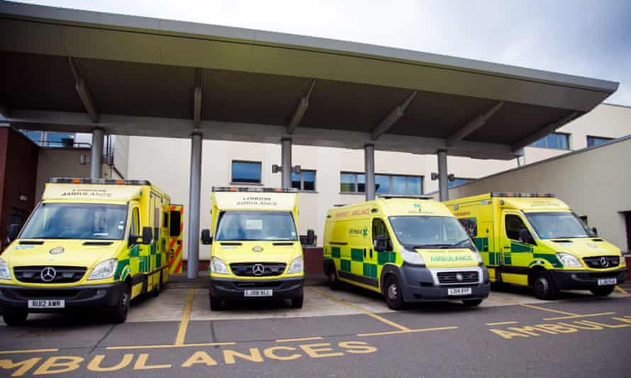 Ambulances outside A&E at North Middlesex hospital.