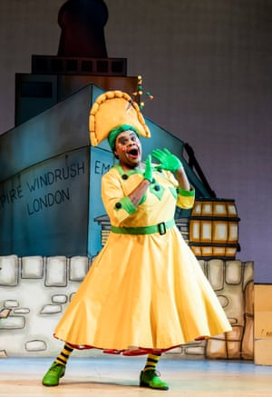 Clive Rowe as Sarah the Cook in Dick Whittington And His Cat at the Hackney Empire, London, 2019.