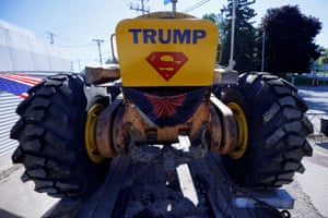 Wisconsin: A tractor decorated to show support for President Donald Trump is displayed