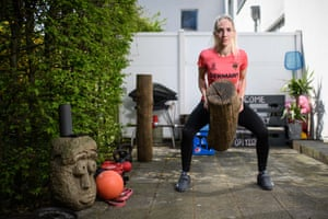 Jana Messerschmidt, the world No 5-ranked woman in karate in the under 55kg weight category, improvises with a tree trunk in her backyard in Cologne.