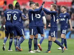 Lamela is congratulated by team-mates.