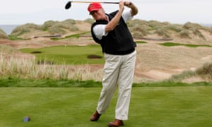 Donald Trump practices his swing at the 13th tee of his course on the Menie Estate near Aberdeen, in 2011.