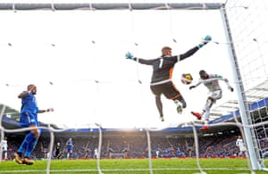 Kasper Schmeichel of Leicester City saves from Christian Benteke as Crystal Palace win 3-0 at the King Power Stadium. Since making his Premier League debut in September 2012, Benteke has scored 24 headed goals – only Arsenal striker Olivier Giroud (27) has netted more in the competition in this period.