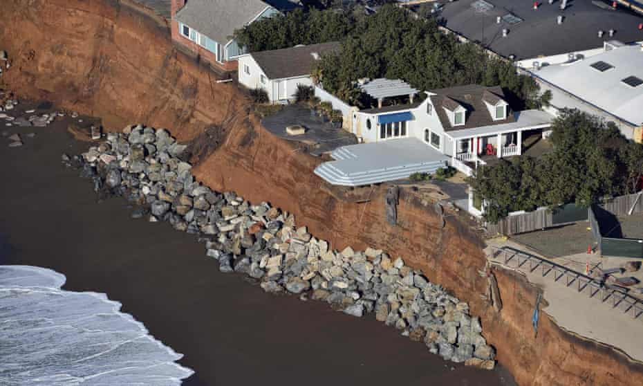 Houses hanging over a cliff in Pacifica, California