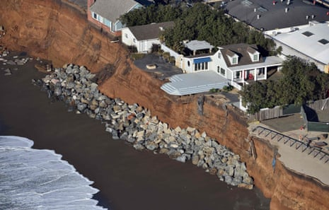Cliffs in Pacifica, California, washed away by powerful storms in 2016. The new report warns of increased coastal erosion.