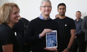 Apple chief executive Tim Cook with the iPad Pro.