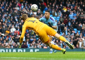 Gabriel Jesus of Manchester City scores during their match with Fulham, who had Tim Ream sent off after just six minutes when he hauled Jesus down and conceded a penalty. City, unsurprisingly, won 4-0.