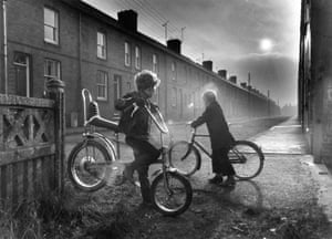 Two boys on chopper bikes in the mining village of Holmewood, Derbyshire, 1973.