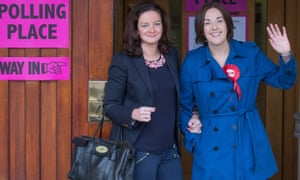 The Scottish Labour leader, Kezia Dugdale, right, and her partner, Louise Riddell